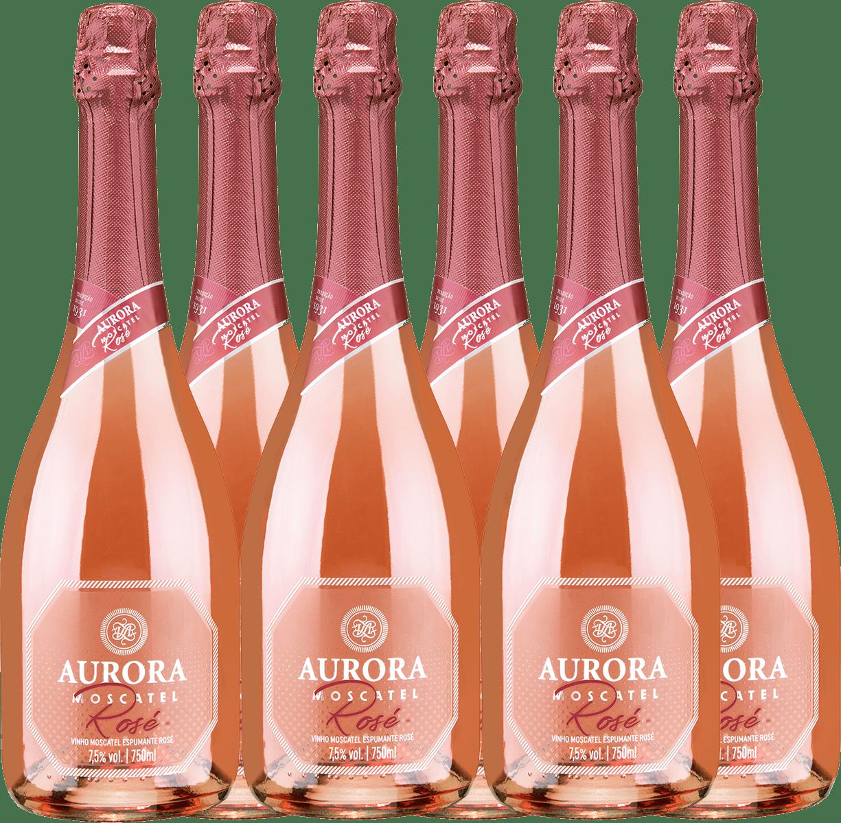 Combo Espumante Aurora Moscatel Rosé 750ml C/6