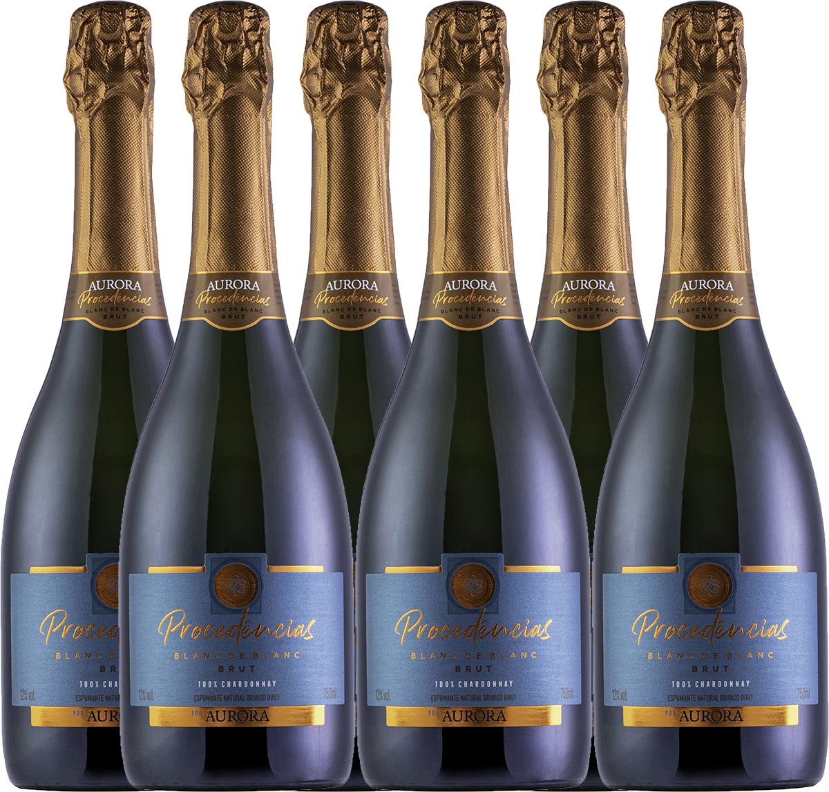 Combo Espumante Aurora Procedências Brut Chardonnay 750ml C/6