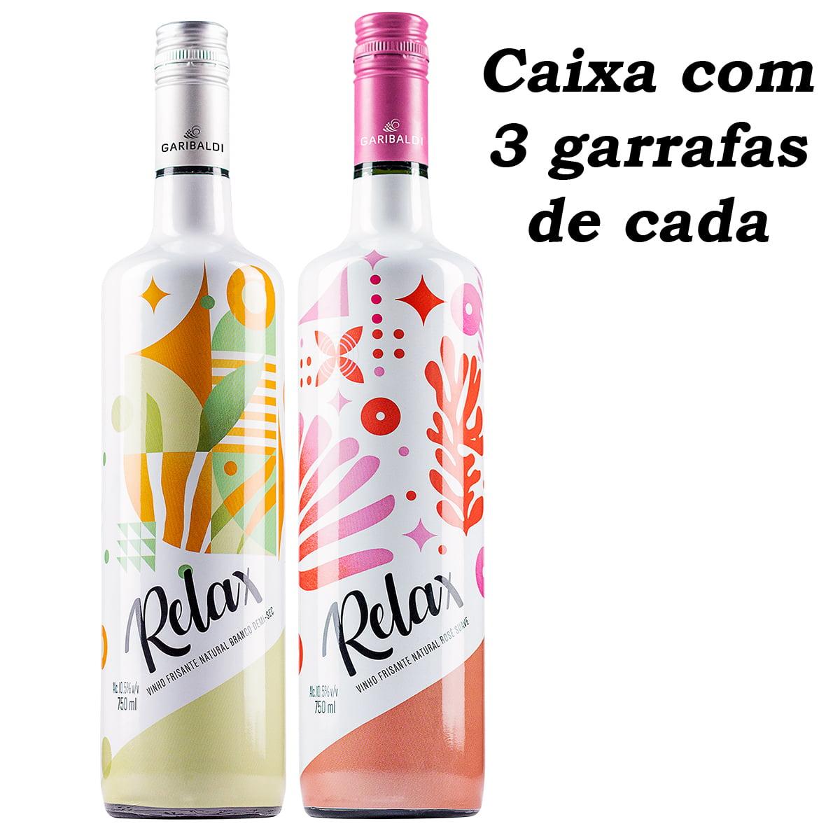 Vinho Garibaldi Relax Frisante Branco Demi-Sec e Rosé Suave 750ml C/3 de cada