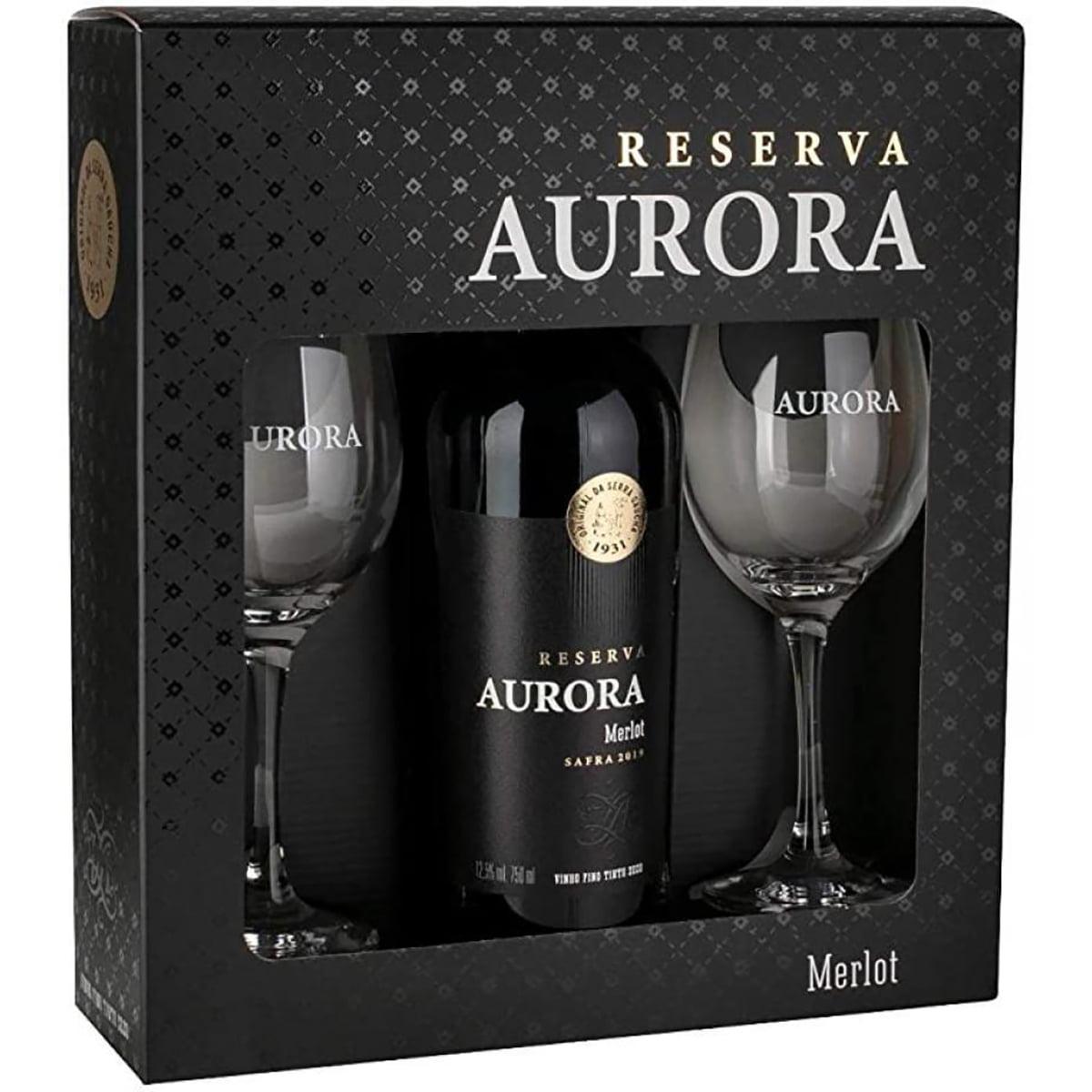 Kit Vinho Aurora Reserva Merlot Tinto Seco 750ml C/2 Taças