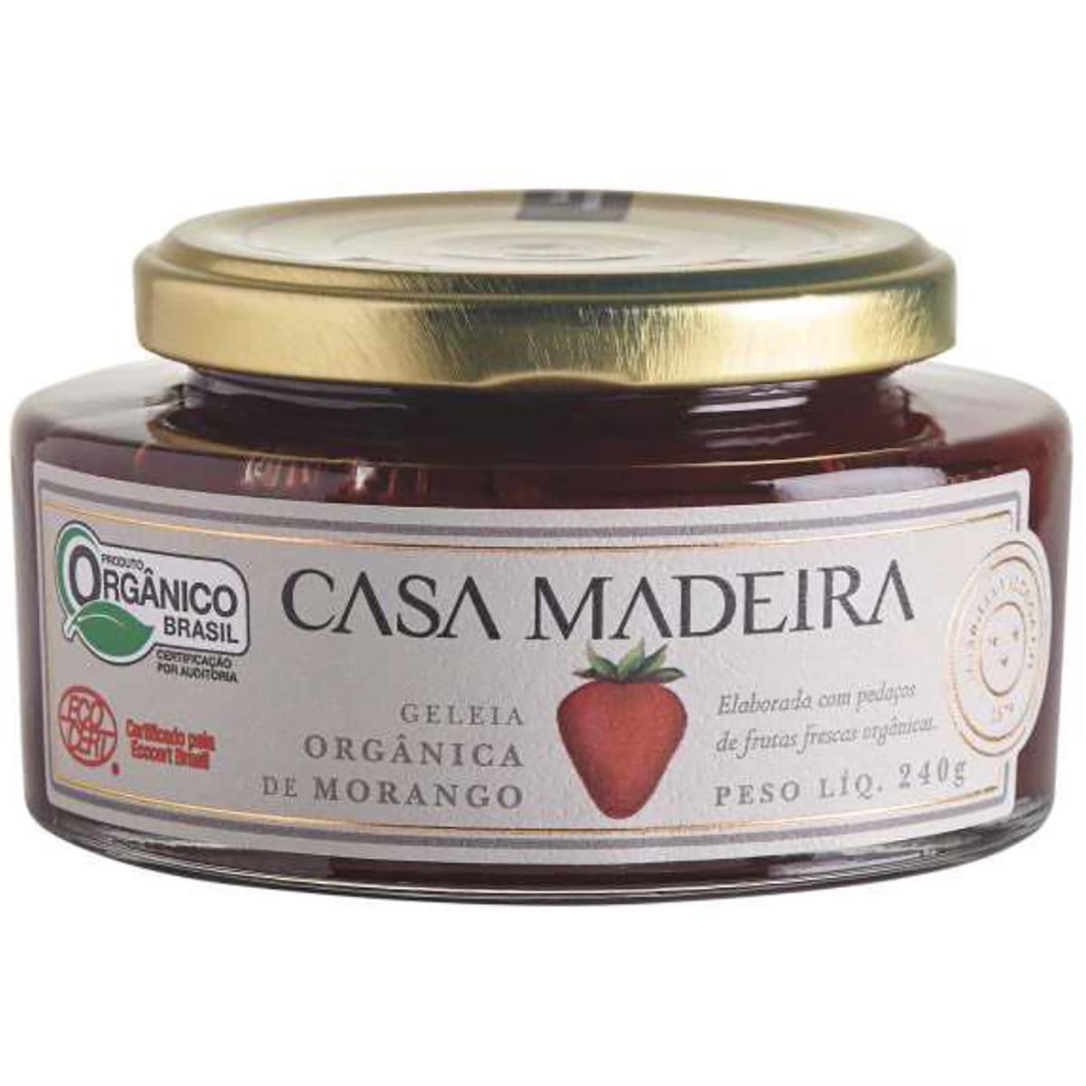 Geleia Orgânica Casa Madeira Morango c/Pedaços 240g