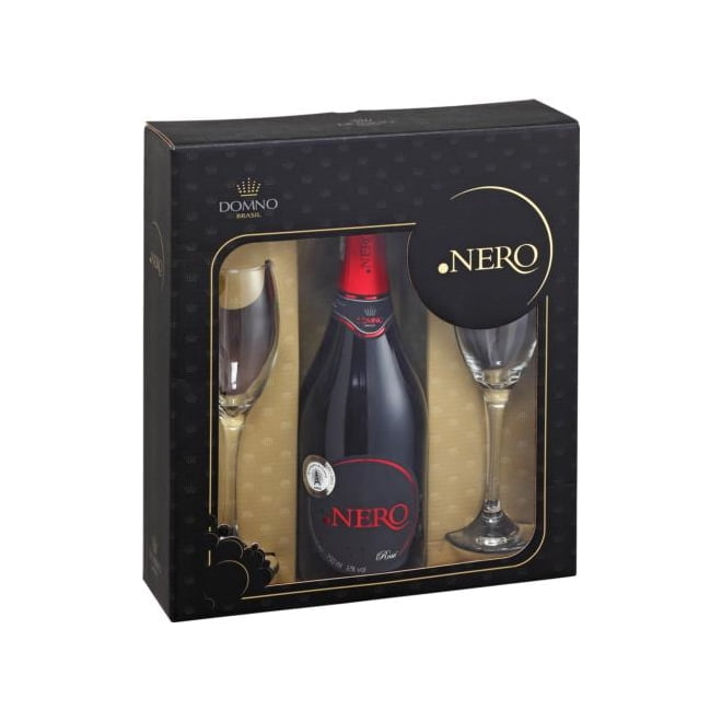 Kit Espumante Ponto Nero Brut Rosé 750ml C/2 taças de vidro