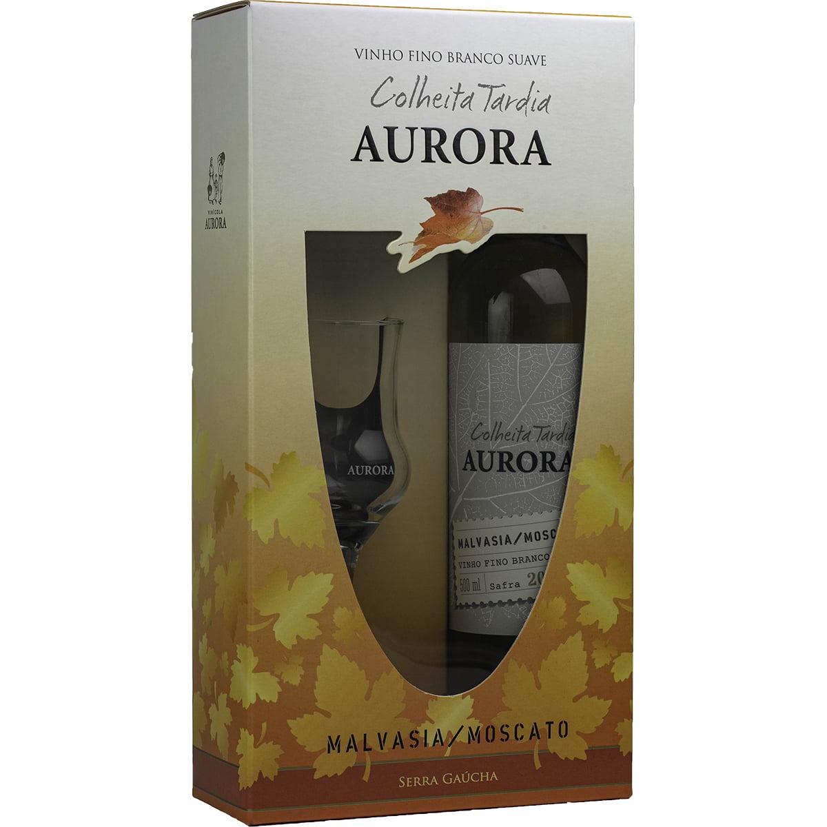 Kit Vinho Aurora Colheita Tardia 500ml C/taça