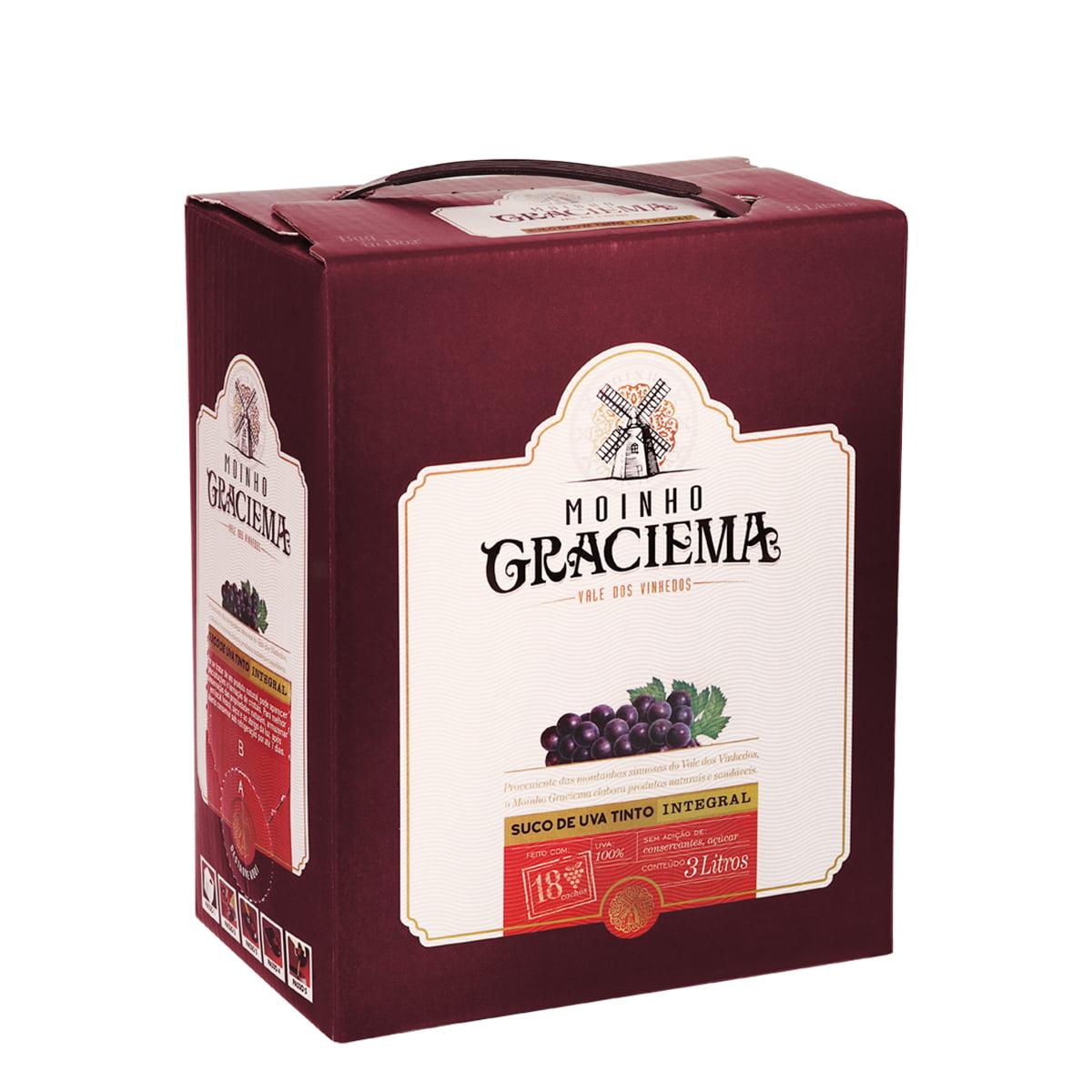 Suco de Uva Moinho Graciema Tinto Integral Bag in Box 3Lts