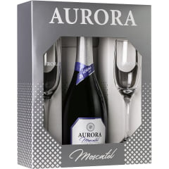 kit Espumante Aurora Moscatel Branco 750ml C/2 taças