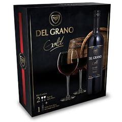 Kit Vinho Del Grano Gold Tinto Suave 750ml C/2 Taças