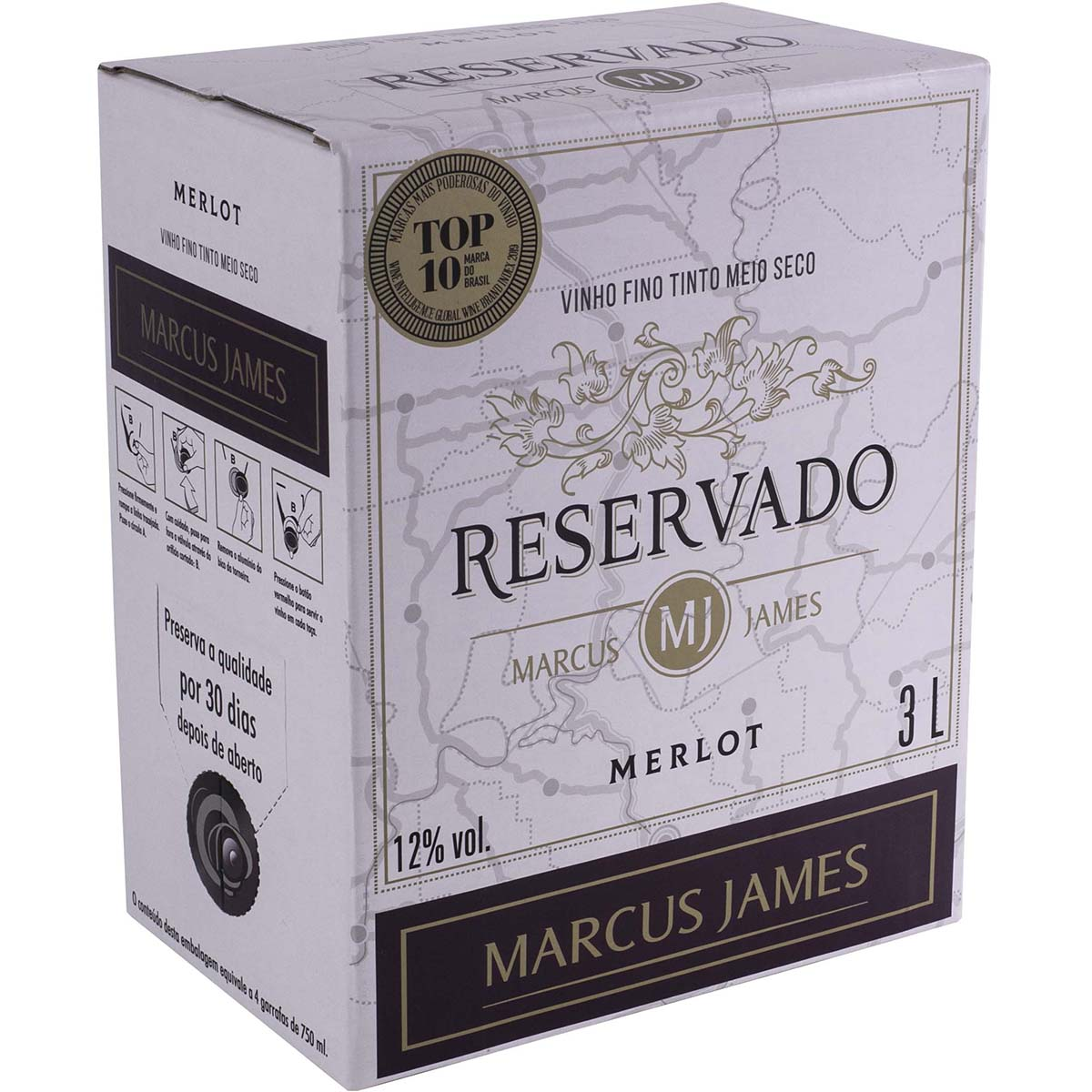 Vinho Marcus James Merlot Tinto Demi-Sec 3000ml Bag