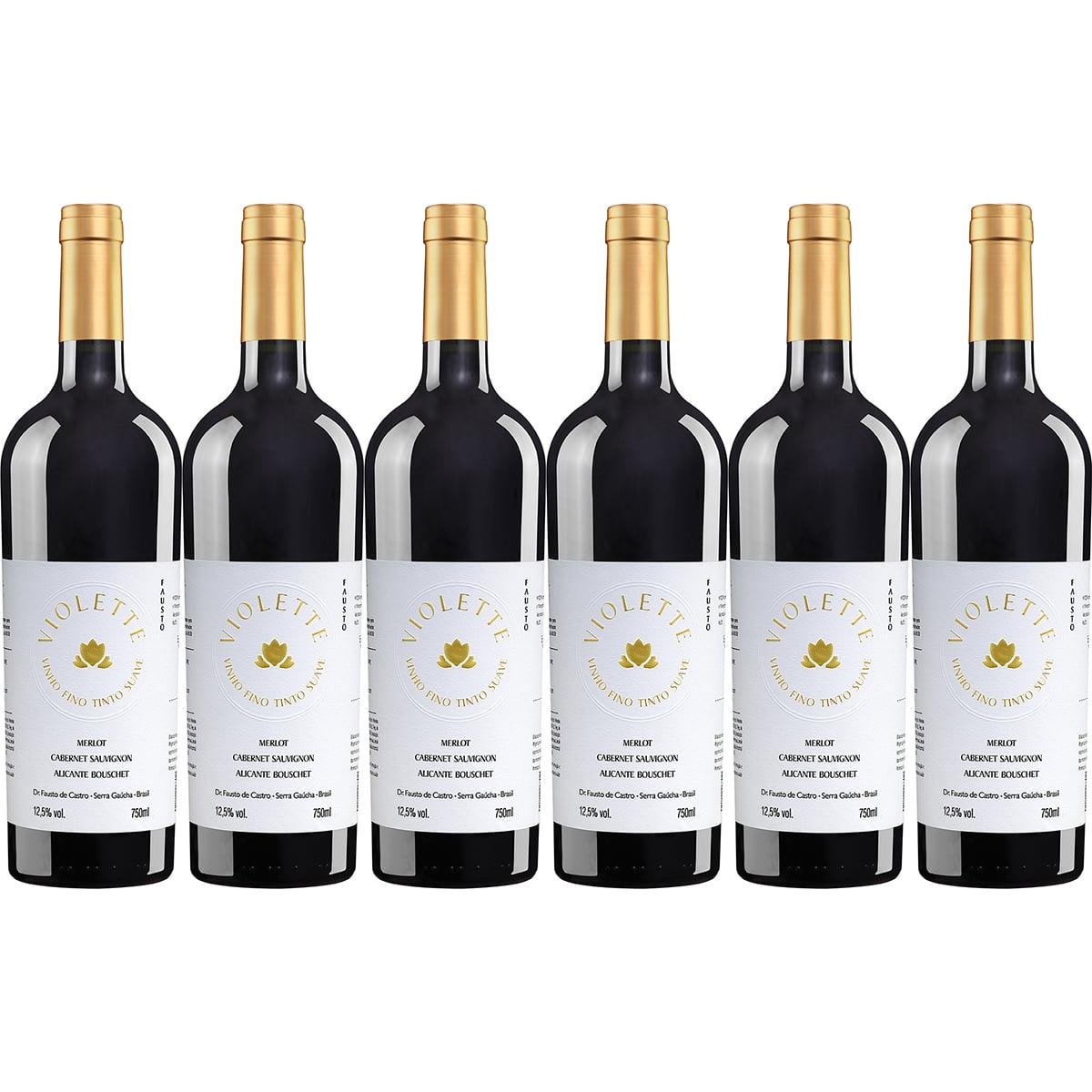 Vinho Pizzato Fausto Violette Tinto Suave 750ml Kit C/6